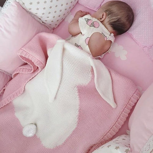 Adorable Knitted Wool Rabbit Baby Blanket ~ Blue, Pink or Gray - BOUTIQUE CHIC
