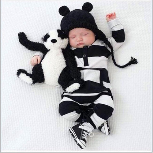 Adorable Black & White Striped Unisex Baby Romper ~ from Newborn to 24 Months - BOUTIQUE CHIC