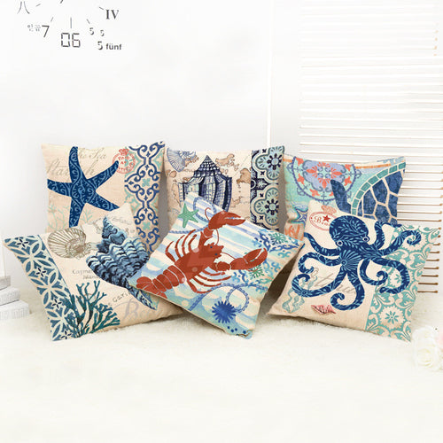 Blue Marine Linen Throw Pillow/Cushion Cover ~ Lobster, Octopus, Shells, Starfish, Tortoise & More - BOUTIQUE CHIC