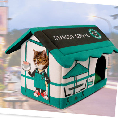 Luxury Soft Coffee House with Cushion for Cats & Kittens - BOUTIQUE CHIC