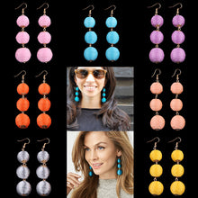 Long Stylish Pompom Triple Beaded Drop Tassel Earrings ~ Assorted Statement Colors - BOUTIQUE CHIC