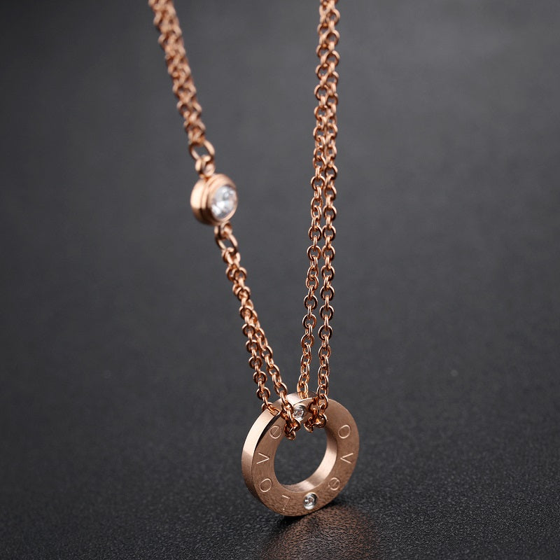 Trendy fashion jewelry necklace pendant with cz in rose gold trendy fashion jewelry necklace pendant with cz in rose gold silver tones boutique aloadofball Image collections