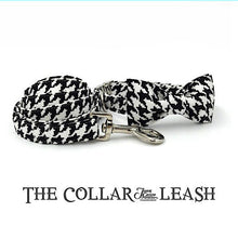 Elegant Adjustable B&W Houndstooth Dog Collar & Leash Set with Hand Sewn Double Styled Bow Tie - BOUTIQUE CHIC