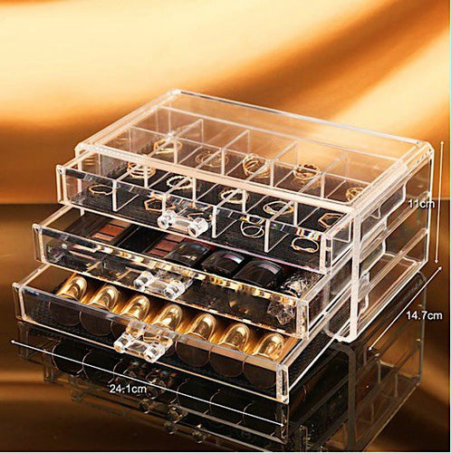 Clear 3 Drawer Acrylic Makeup & Jewelry Organizer ~ Easy to Locate What's Needed - BOUTIQUE CHIC