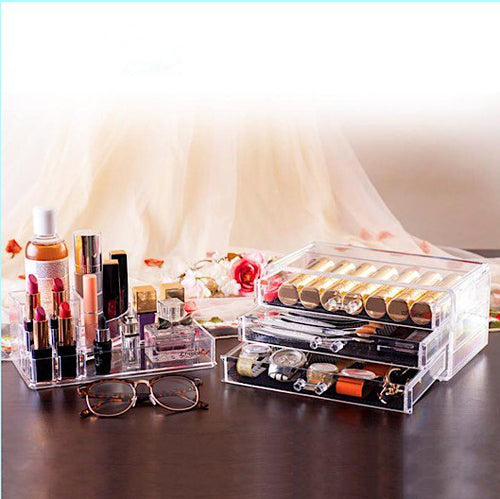 Clear Acrylic Cosmetics Organizer with 3 Drawers & Removable Tray - BOUTIQUE CHIC