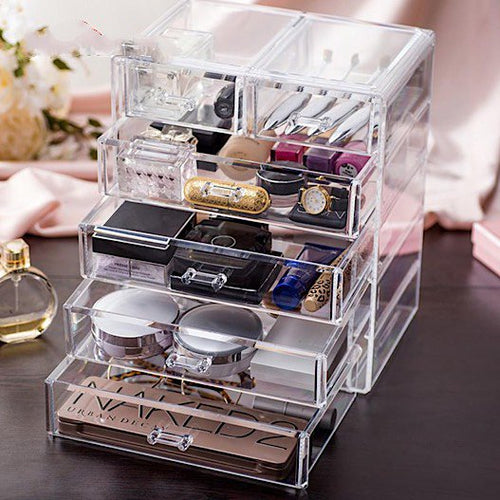 Clear Acrylic Large Cosmetics & Jewelry Organizer with 4 Large and 2 Medium Storage Drawers - BOUTIQUE CHIC