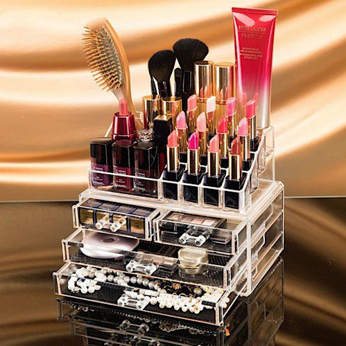 Clear Acrylic Cosmetics Organizer with 2 Large Drawers & 2 Medium Drawers ~ Easy & Quick Access - BOUTIQUE CHIC