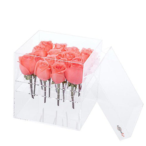 Luxury Handmade Clear Acrylic Rose Flower Gift Box With Lid ~ 16 Holes - BOUTIQUE CHIC