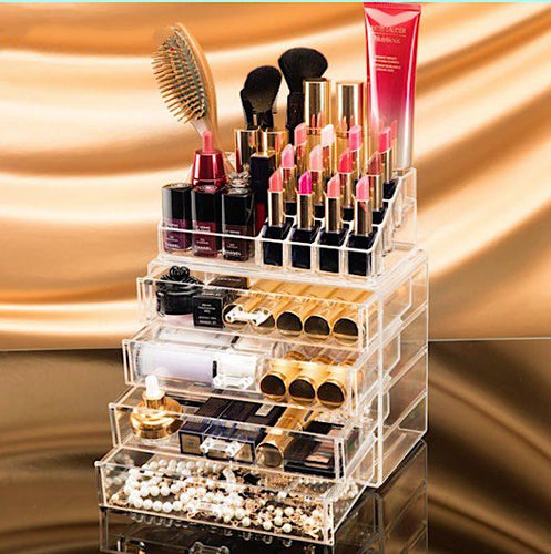 Clear Acrylic Extra Large Makeup Organizer with 4 Drawers & Organizer Storage Box ~ Easy Access - BOUTIQUE CHIC