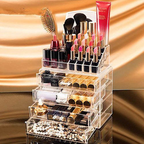 Clear 4 Drawer Acrylic Cosmetics Organizer with Mirror ~ Stores Lipstick, Makeup, Nail Polish, Etc. - BOUTIQUE CHIC