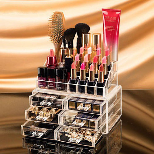 Clear Acrylic Cosmetics Organizer with 6 Medium Drawers ~ Stores Lipstick, Makeup, Nail Polish, Etc. - BOUTIQUE CHIC