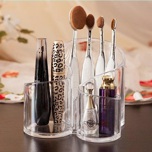 Clear Acrylic Durable Multiple Sectioned Brush Case Stand and Cosmetics & Jewelry Organizer - BOUTIQUE CHIC