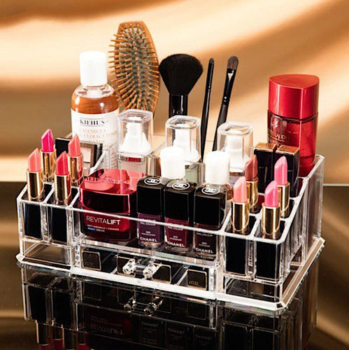 Clear Acrylic Combinable Cosmetics & Jewelry Organizer with Pullout Drawer - BOUTIQUE CHIC