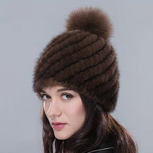 Luxurious & Elegantly Designed Genuine Mink Knitted Fur Beanie Hat with Fox Fur Pompom - BOUTIQUE CHIC