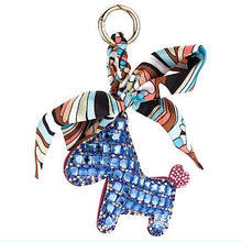 Exquisite Leather & Crystal Horse Keychain or Bag Pendant Charm with Tiny Scarf - BOUTIQUE CHIC