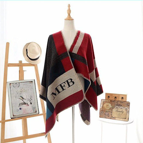 Luxury Designer Plaid Cashmere Cape Style Blanket Poncho ~ Customized Monogramming Up to 3 Initials - BOUTIQUE CHIC
