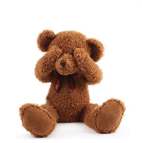 Adorable Plush Peek a Boo Shy Teddy Bear With Magnets Inside Ears, Eyes, Mouth & Hands to Position - BOUTIQUE CHIC