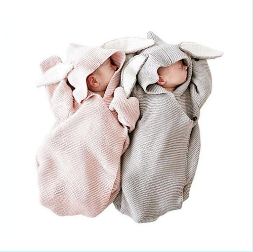 Adorable Rabbit Eared Knitted Newborn Swaddling Wrap with Button & Loop Closure - BOUTIQUE CHIC