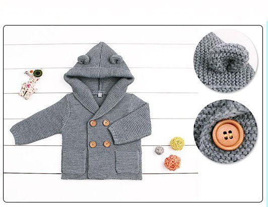 a47418068 Sweet Baby Boy Knitted Hooded Cardigan Coat Sweater or Vest with ...