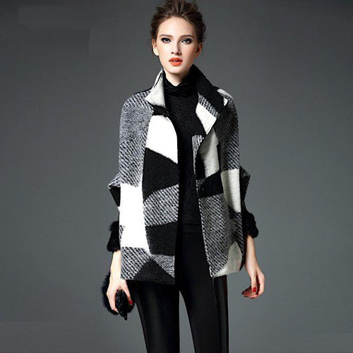 Luxury Runway Woman's Wool Checker Block Batwing Coat - BOUTIQUE CHIC