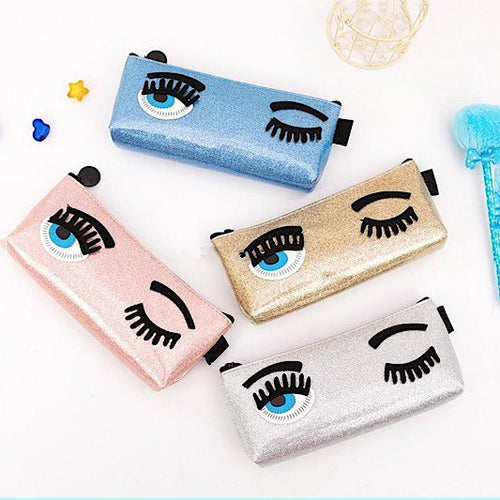 Luxury Brand Blink Eyes Makeup Cosmetics Bag ~ Spearl Skin Pencil Style - BOUTIQUE CHIC