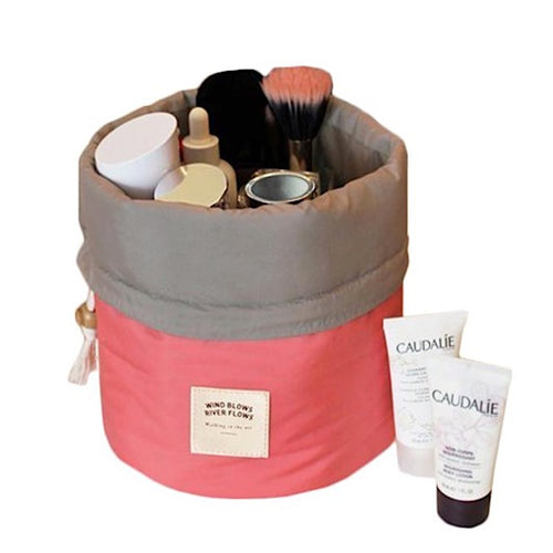Elegant 2 Piece Easy Access Drum Shaped Cosmetic Organizer ~ Nylon & Drawstring Closure - BOUTIQUE CHIC