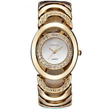 Luxury Ladies Gold Plated Quartz Bracelet Waterproof Wristwatch with Hidden Clasp - BOUTIQUE CHIC
