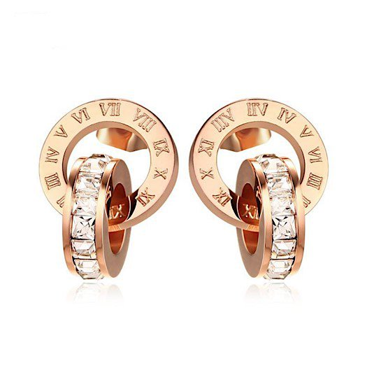 Trendy Interlocked Roman Numeral Circle CZ Rose Gold Plated Stud Earrings