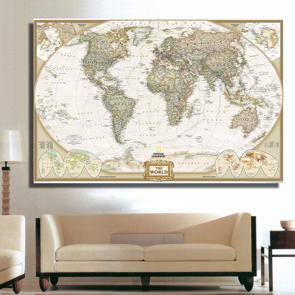 Large World Map Poster Oil Painting on Canvas without Frame in ...