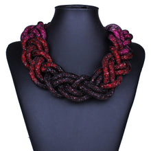 Luxury Woven Star Statement Necklace of Intertwined Tubed Crystals & Magnetic Closure - BOUTIQUE CHIC