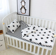 Trendy Black & White 3 Piece Cotton Baby Bedding Crib Set ~ Duvet Cover, Pillowcase & Bed Sheet