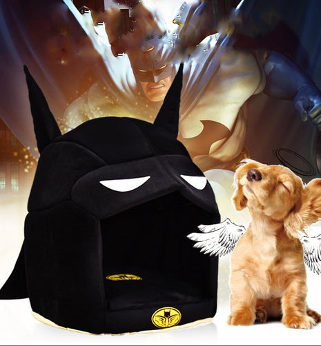Batman Shaped Cat or Dog House with Mat for Small to Medium Pets - BOUTIQUE CHIC