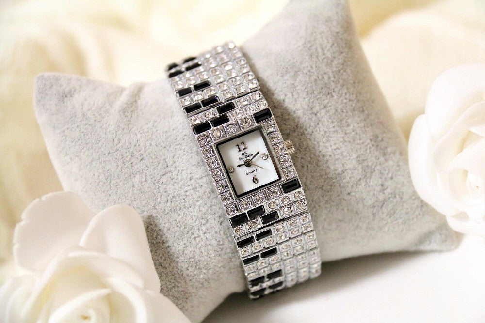 Luxury Full Austrian Crystal Black White Piano Bangle Watch for Women - BOUTIQUE CHIC