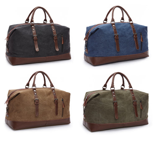 Mens Large Canvas & Leather Duffel Carry On Bag ~ Overnight or Weekend - BOUTIQUE CHIC