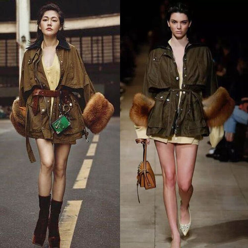 Runway Luxury Designer Green Royal Army Trench Military Jacket ~ Trimmed with Faux or Raccoon Fur - BOUTIQUE CHIC