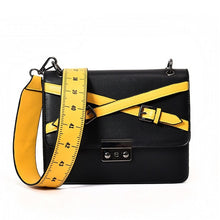 "Trendy Faux Leather Messenger Bag with Removable ""Measuring Tape"" Belt Shoulder Strap"