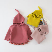 Stylish Designer Casual Knitted Hooded Sweater with Trendy Pompom Trim ~ Girls 12 Months to 5T