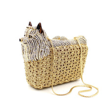 Luxurious Puppy & Bed Shaped Crystal Evening Bag Clutch with Short Chain - BOUTIQUE CHIC