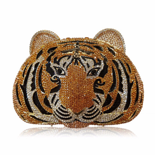 Luxurious Tiger Wildcat Evening Crystal Clutch Bag with Chain - BOUTIQUE  CHIC 0f0b26ae5e41c