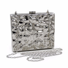 Luxurious Metallic Look Acrylic Fashion Box Evening Bag with Hard Case & Chain - BOUTIQUE CHIC