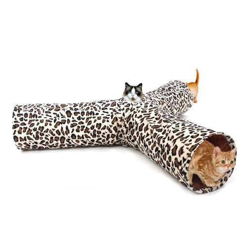 Stylish & Collapsible Crinkly Leopard Print 3 Way Play Tunnel for Cats & Kittens - BOUTIQUE CHIC