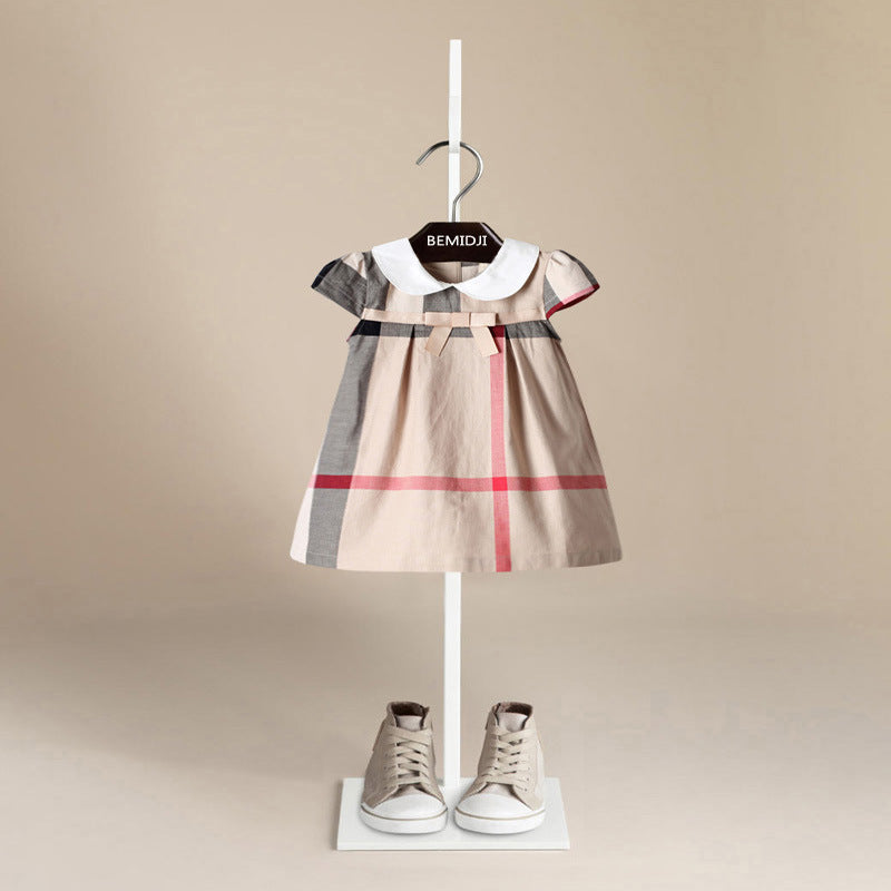 Luxury Designer Plaid Cotton A-Line Dress with Peter Pan Collar & Cap Sleeves ~ 12 Months to 5T - BOUTIQUE CHIC