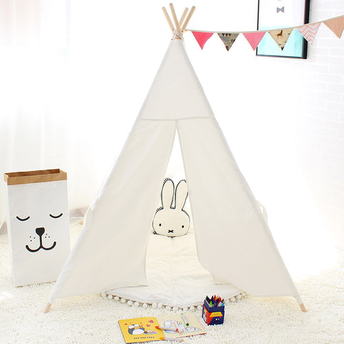 Adorable Kids Canvas Play Tent Teepee with Window & Outside Pockets ~ Four Poles for Added Stability - BOUTIQUE CHIC