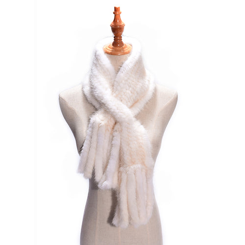 Luxurious  & Elegant Real Russian Mink Knitted Fur Scarf with Tassels - BOUTIQUE CHIC