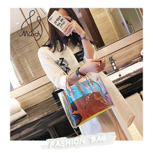 Luxurious Transparent Jelly Composite Messenger Tote Bag with Shoulder Chain & Gradient Color - BOUTIQUE CHIC