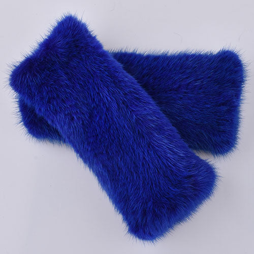 Luxurious Trendy Genuine Mink Knitted Fur Fingerless Gloves in a Jewel Tone Color Selection - BOUTIQUE CHIC