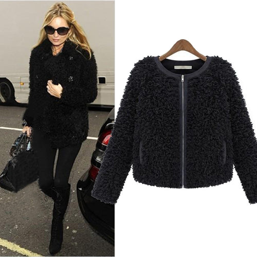 Luxury Designer Faux Fur Thick Fluffy Curly Lambs Wool Short Jacket ~ Long Sleeves & Zipper Closure - BOUTIQUE CHIC