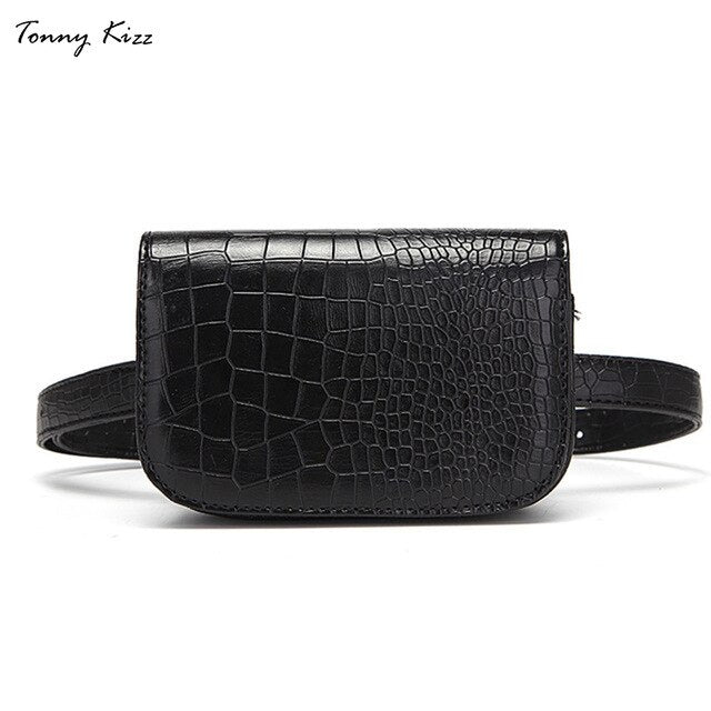 Stylish & Luxurious Faux Leather Waist Bag in Alligator Printed Style