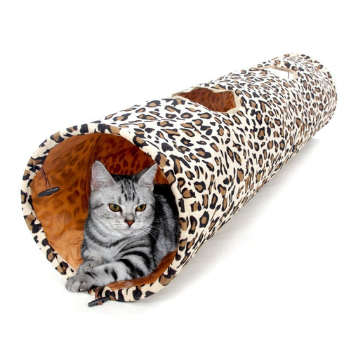 Stylish & Crinkly Leopard Print Cat & Kitten Play Tunnel with 2 Fun Holes for Extra Fun