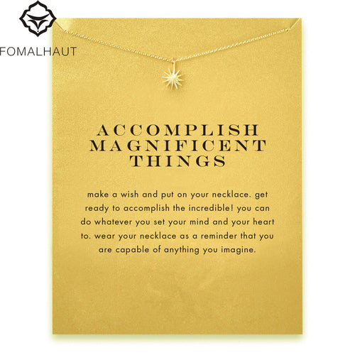 Accomplish Magnificent Things Starburst Pendant Clavicle Necklace ~ Fashion Statement Necklace - BOUTIQUE CHIC